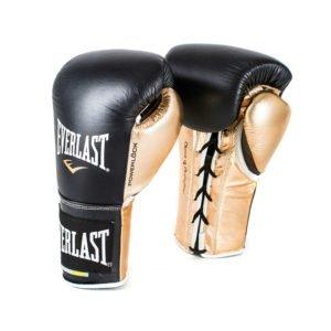 Γάντια προπόνησης Everlast powerlock δερμάτινα κορδόνια Μαυρο