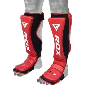 RDX T7 Red Shin Instep Guards Δερμάτινες